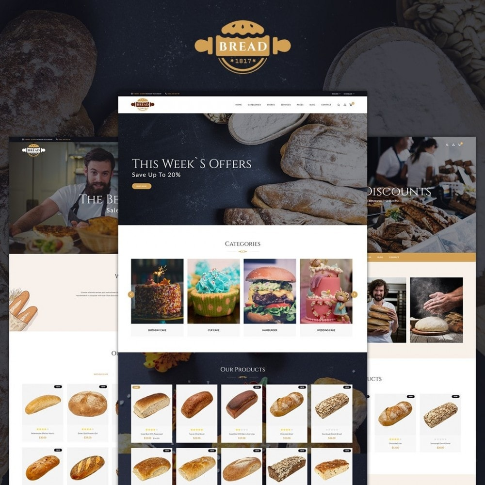 theme - Food & Restaurant - JMS Bread - 1