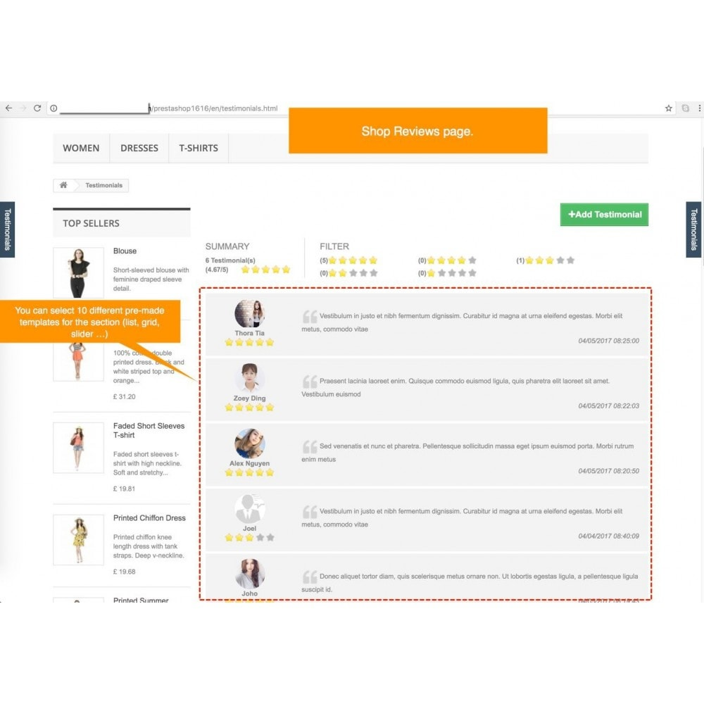 module - Recensioni clienti - Testimonials and Shop Reviews Pro - 1