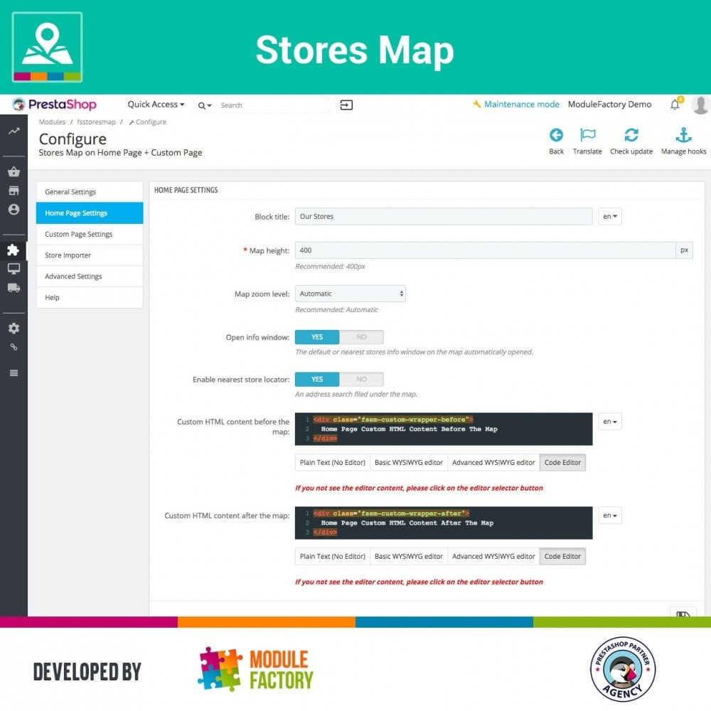 module - Internationalisierung & Lokalisierung - Stores Map on Home Page + Custom Page - 6