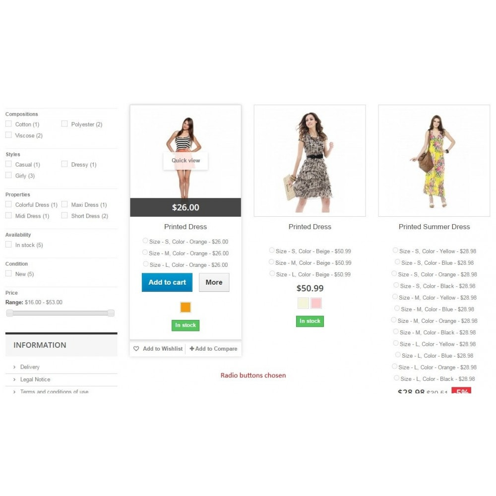 module - Deklinacje & Personalizacja produktów - Show attributes / List pages add to cart combination - 7