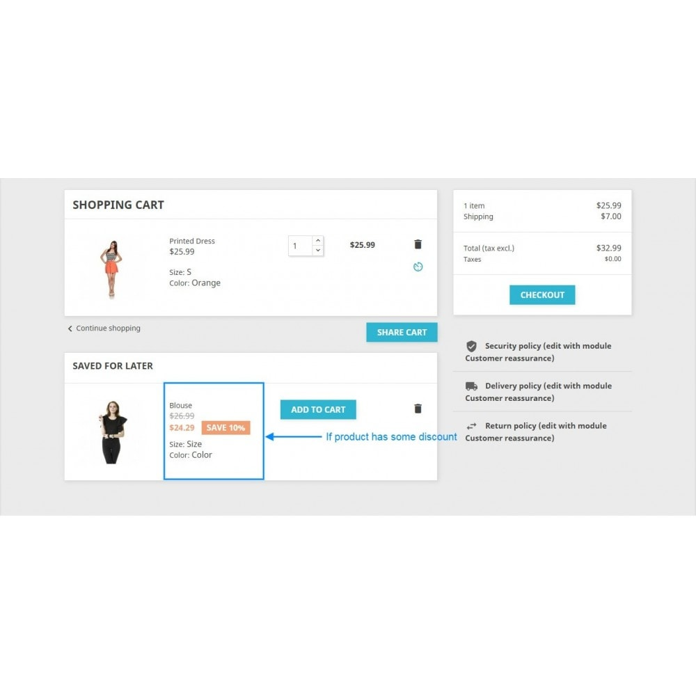 module - Inscription & Processus de commande - Save for later and share cart - 11