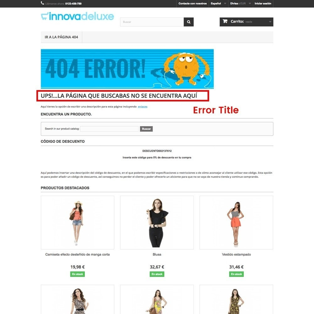 module - URL & Przekierowania - Customization of the 404 error page - 17