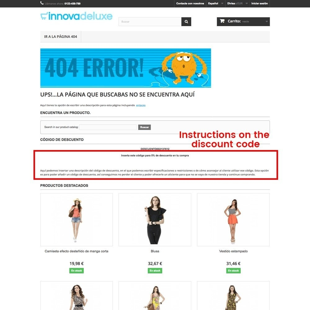 module - URL & Redirects - Customization of the 404 error page - 23