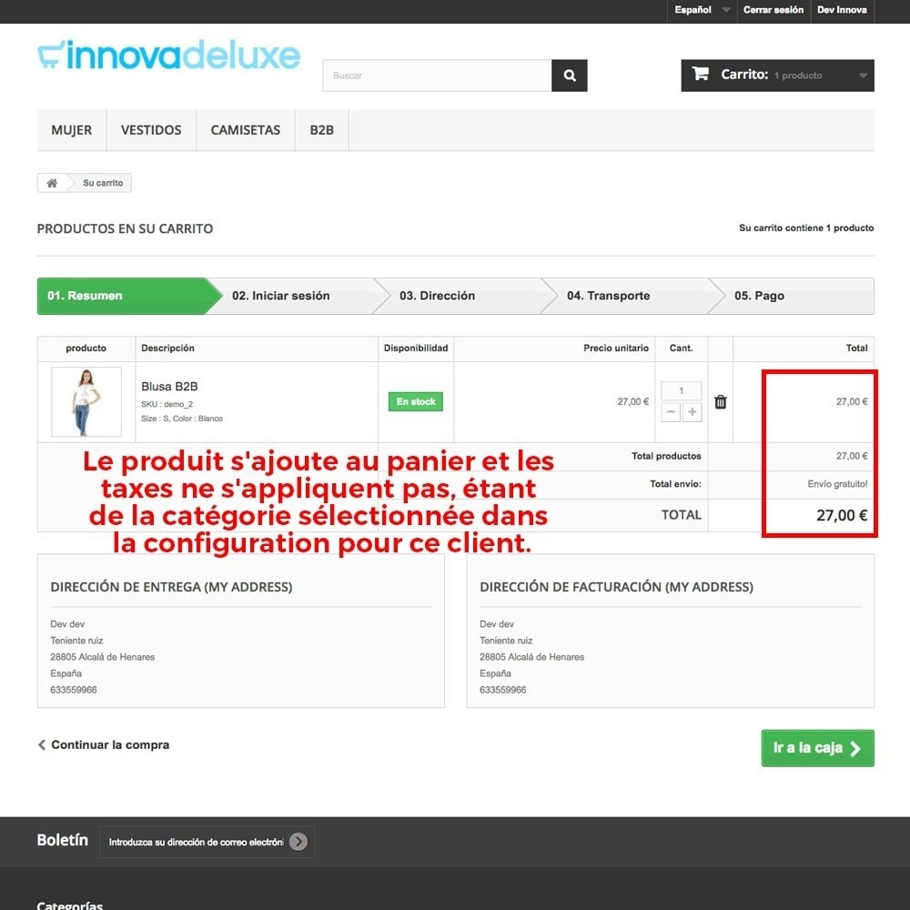module - B2B - Suppression des taxes (clients/catégories) - 9