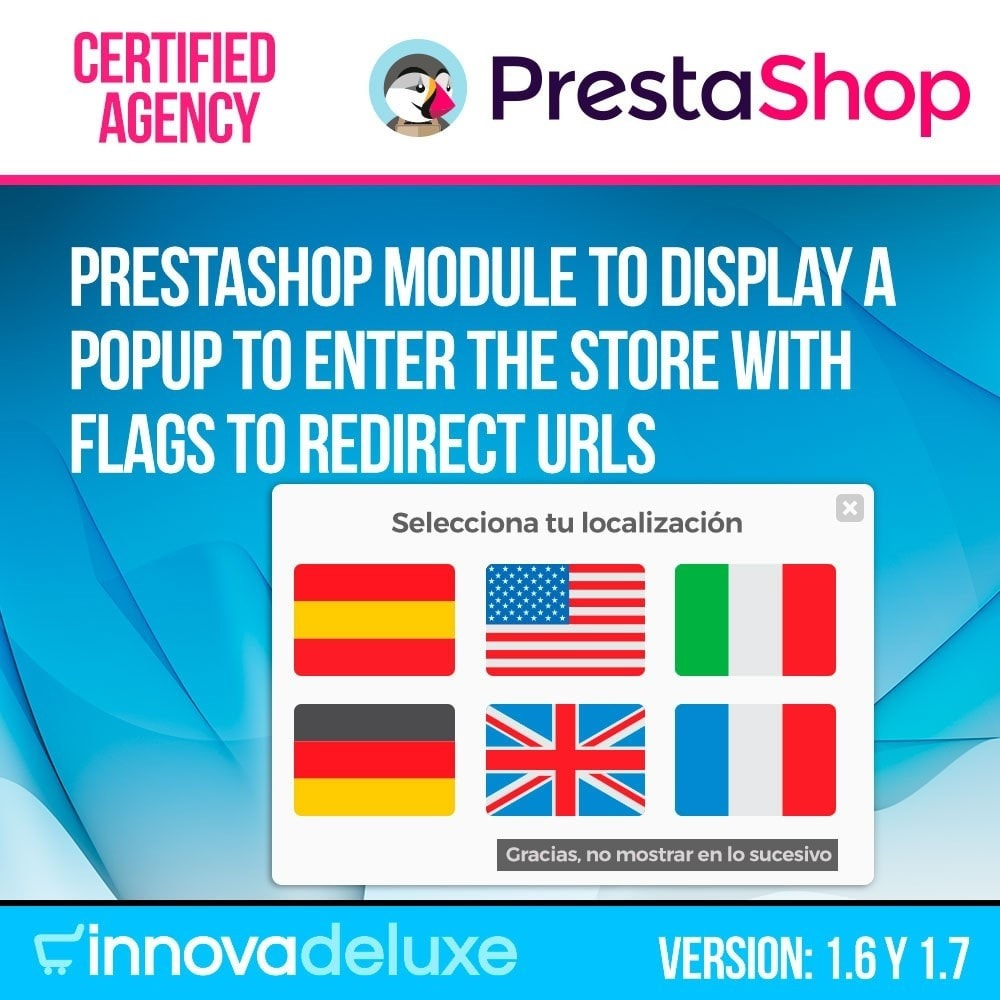 module - URL & Przekierowania - Popup with flags to redirect to other webs - 1