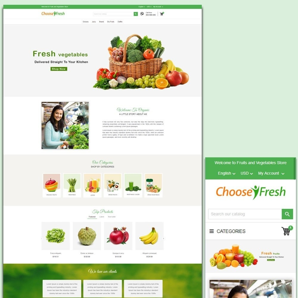 theme - Продовольствие и рестораны - Fresh Fruits And Vegetables Store - 1