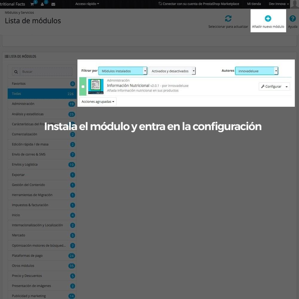 module - Informaciones adicionales y Pestañas - Información nutricional de los productos - 2