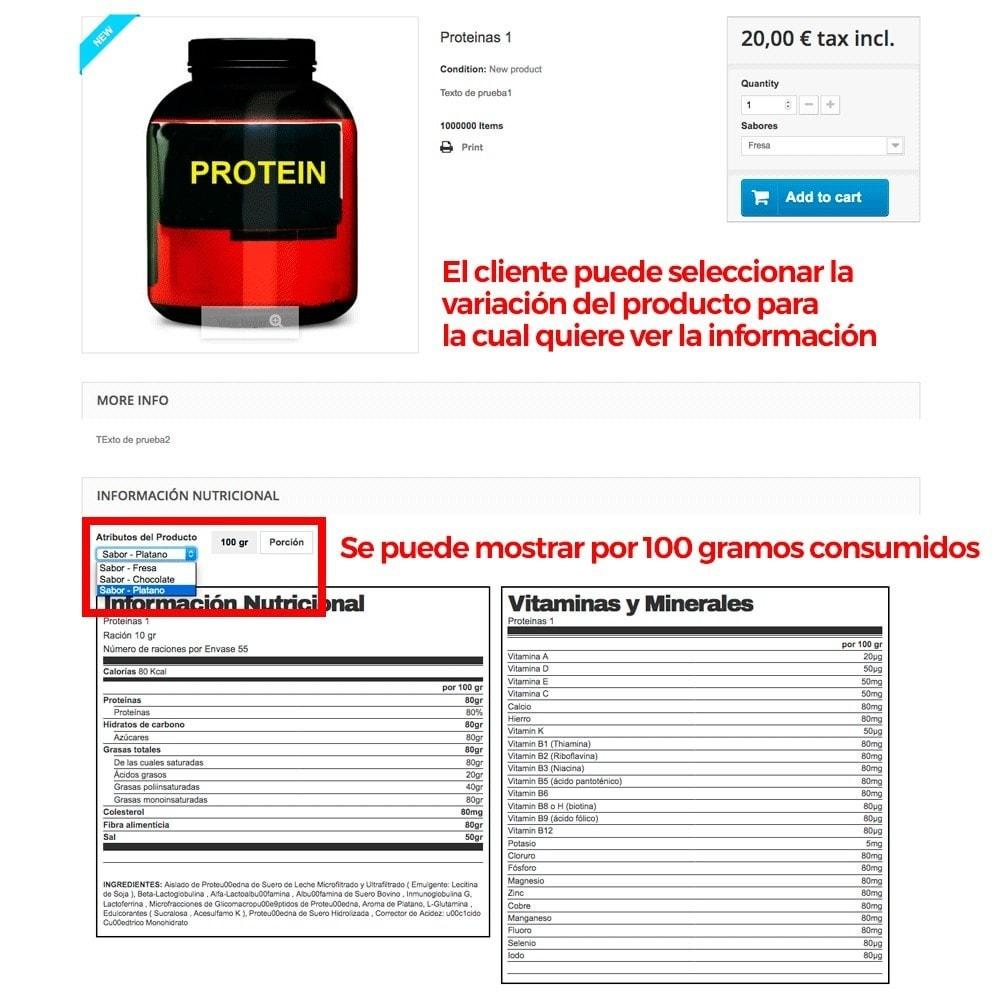module - Informaciones adicionales y Pestañas - Información nutricional de los productos - 9