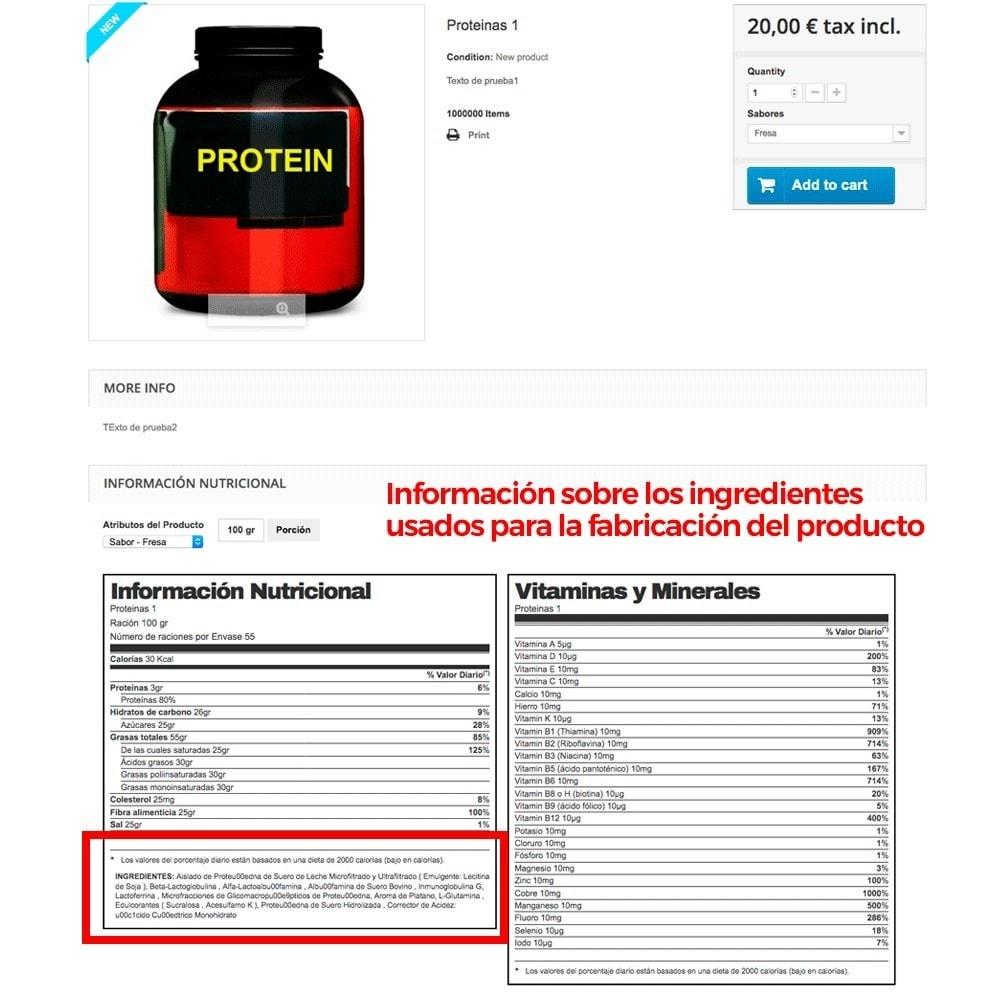 module - Informaciones adicionales y Pestañas - Información nutricional de los productos - 12