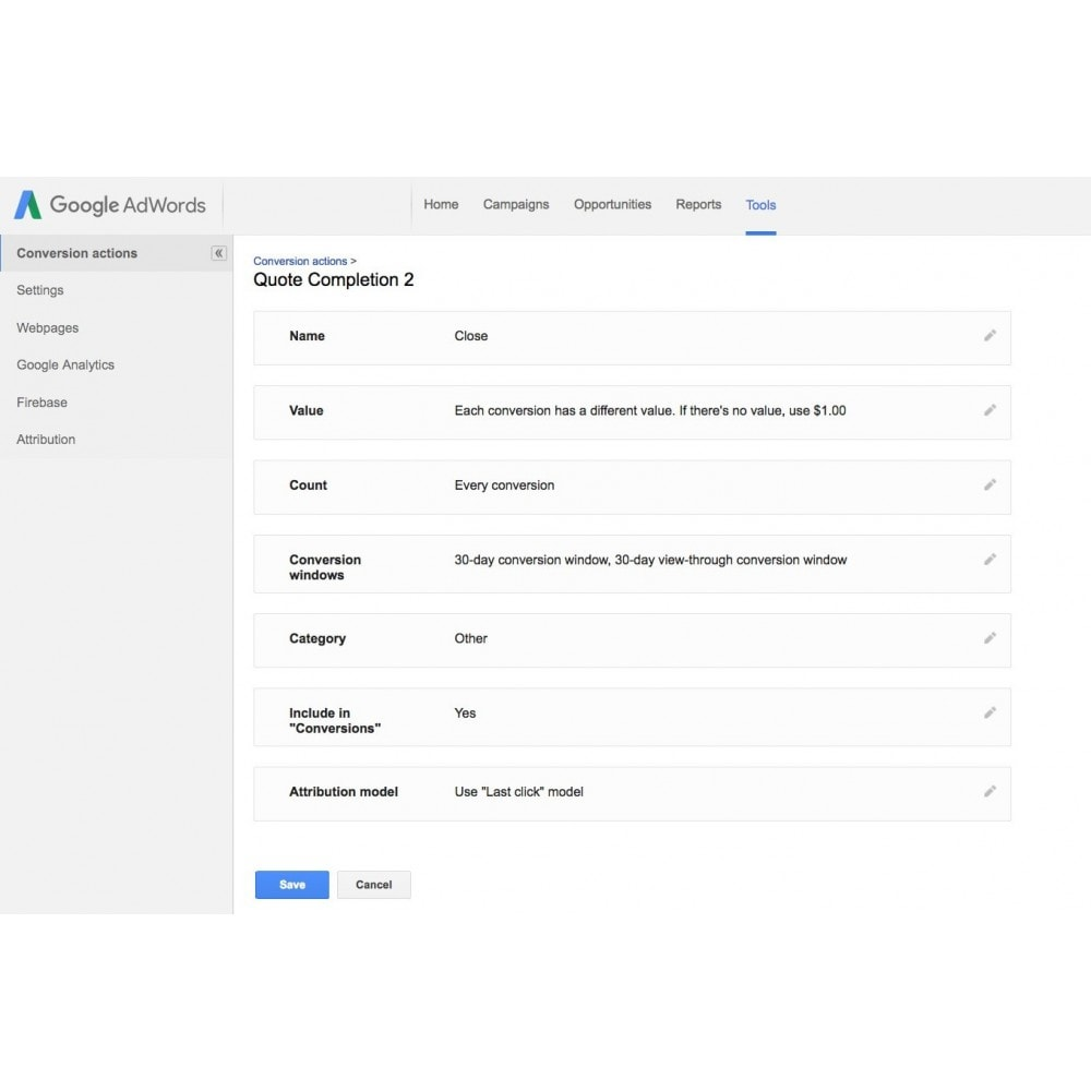 module - Informes y Estadísticas - Google Adwords Conversion Tracking - 4