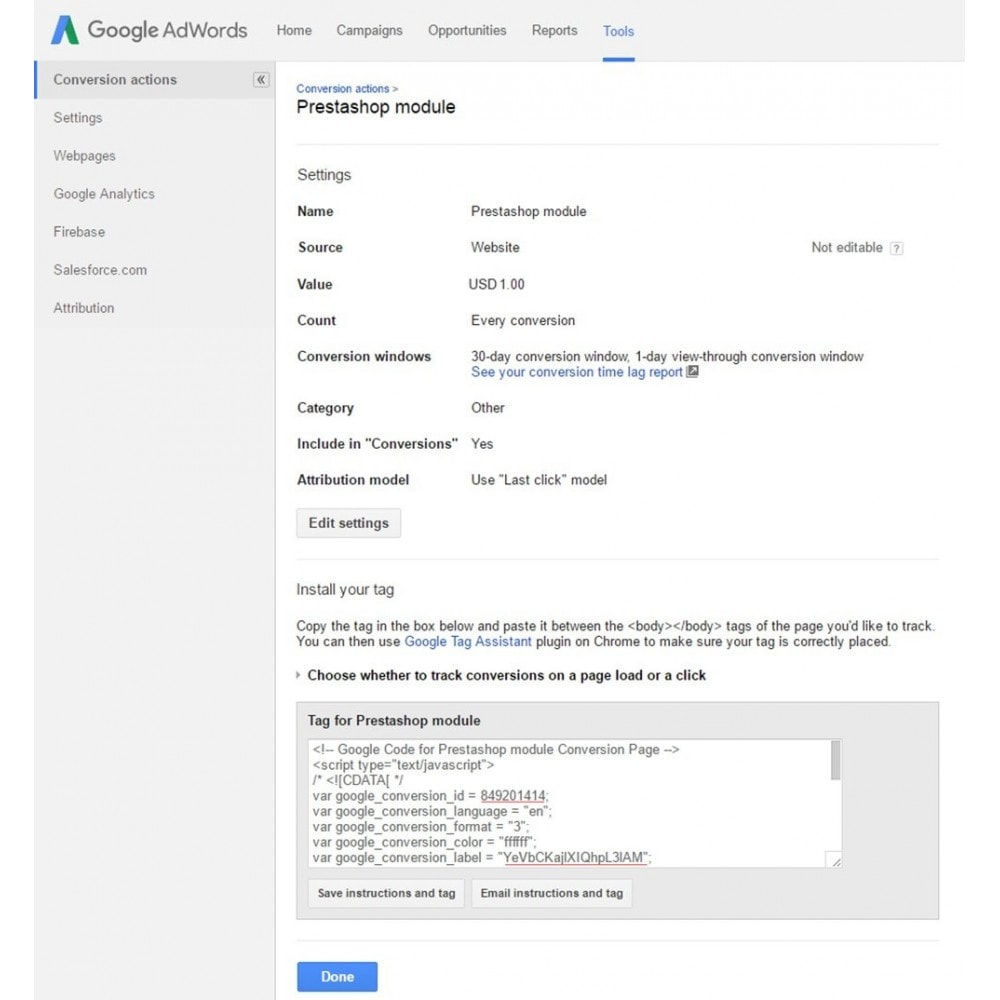 module - Analysen & Statistiken - Google Adwords Conversion Tracking - 5