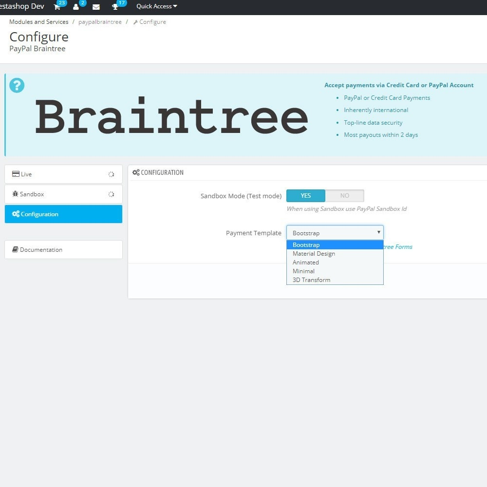 module - Payment by Card or Wallet - PayPal Braintree - 8