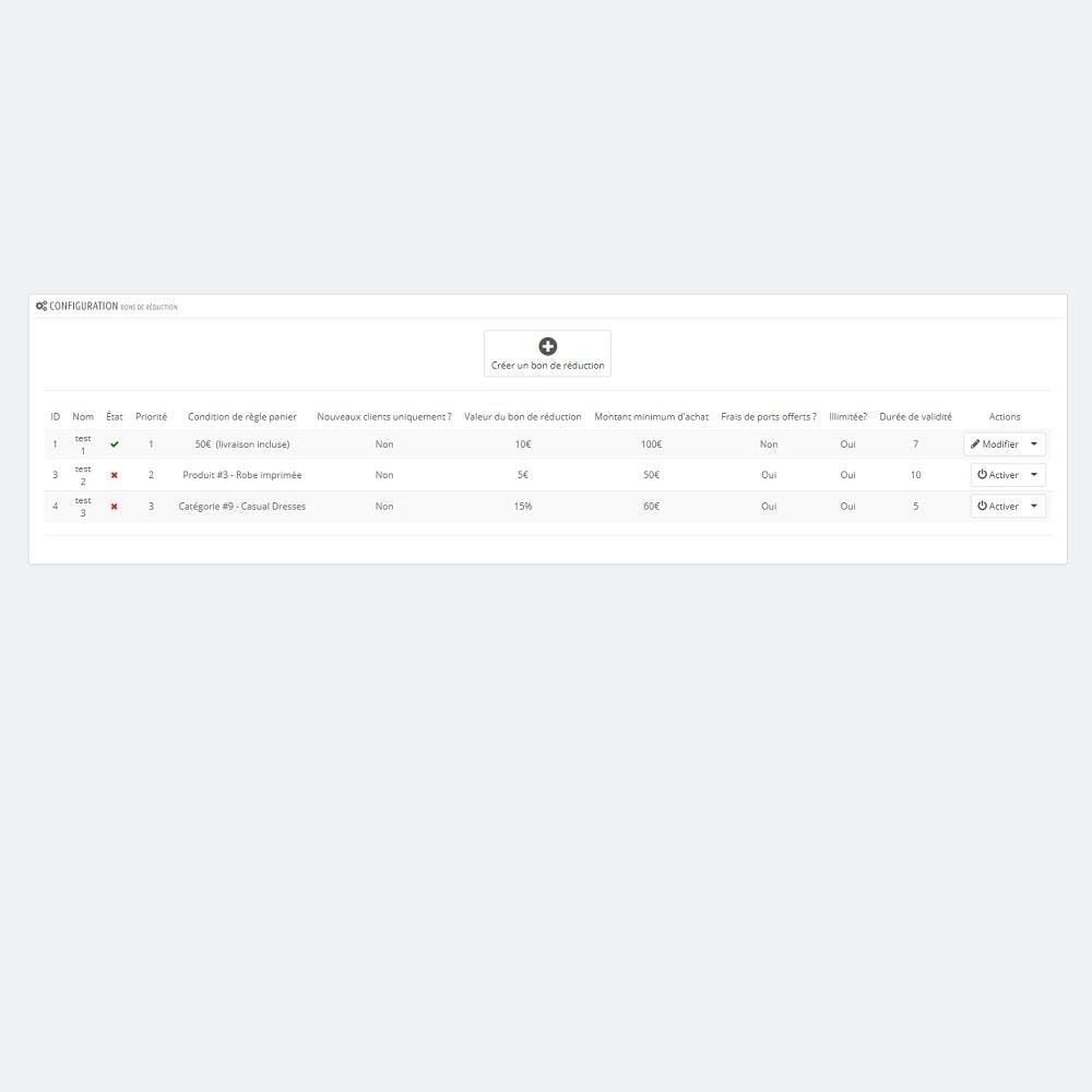 module - Fidélisation & Parrainage - Fidélisation - Bons de réduction après achat - 6