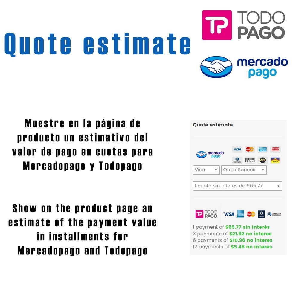 module - Pago con Tarjeta o Carteras digitales - Calculador de cuotas Mercadopago / Todopago - 1