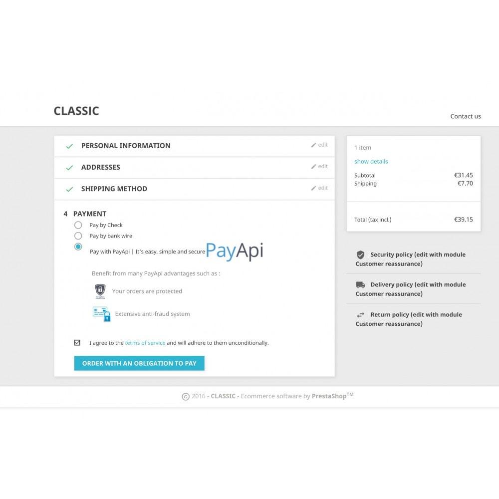 module - Оплата банковской картой или с помощью электронного кошелька - PayApi - 2