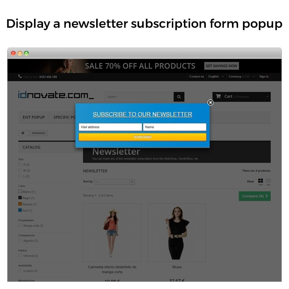 module - Всплывающие окна - Popup when entering, leaving, add product, newsletter - 6