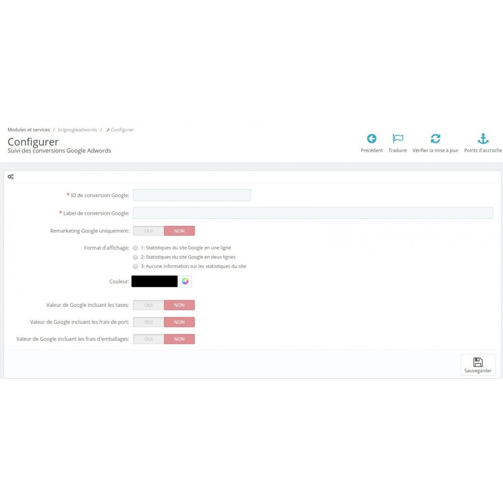 module - Analyses & Statistiques - Suivi des conversions Google Adwords - 1
