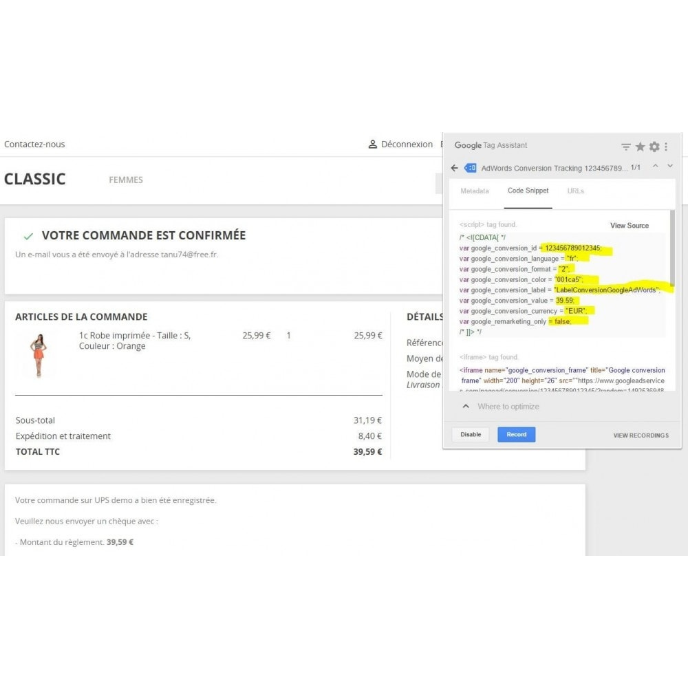 module - Analyses & Statistiques - Suivi des conversions Google Adwords - 3