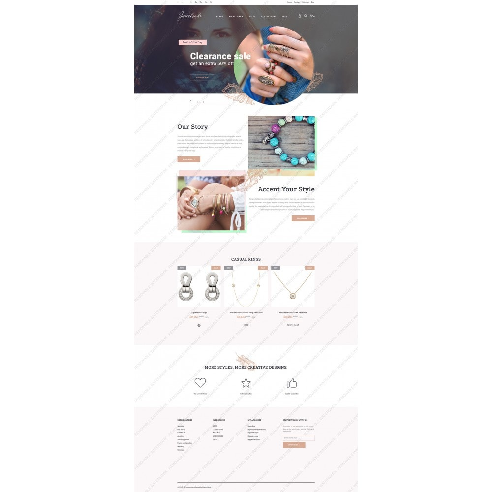 theme - Мода и обувь - White Jewelry PrestaShop Template by Jetimpex - 5