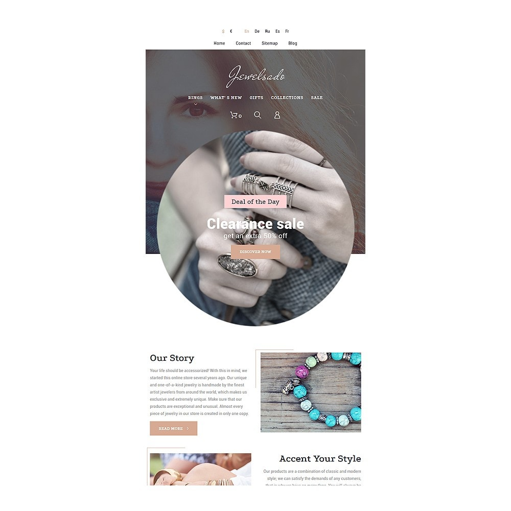 theme - Мода и обувь - White Jewelry PrestaShop Template by Jetimpex - 6