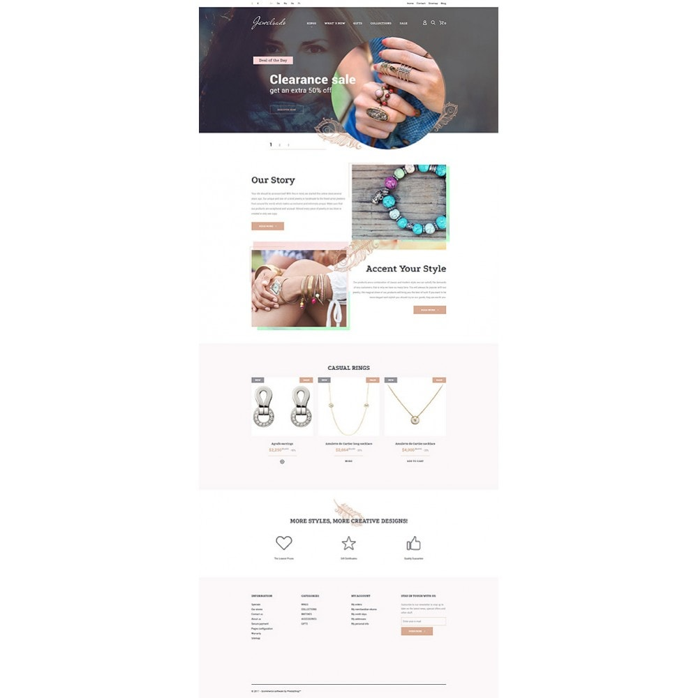 theme - Мода и обувь - White Jewelry PrestaShop Template by Jetimpex - 9