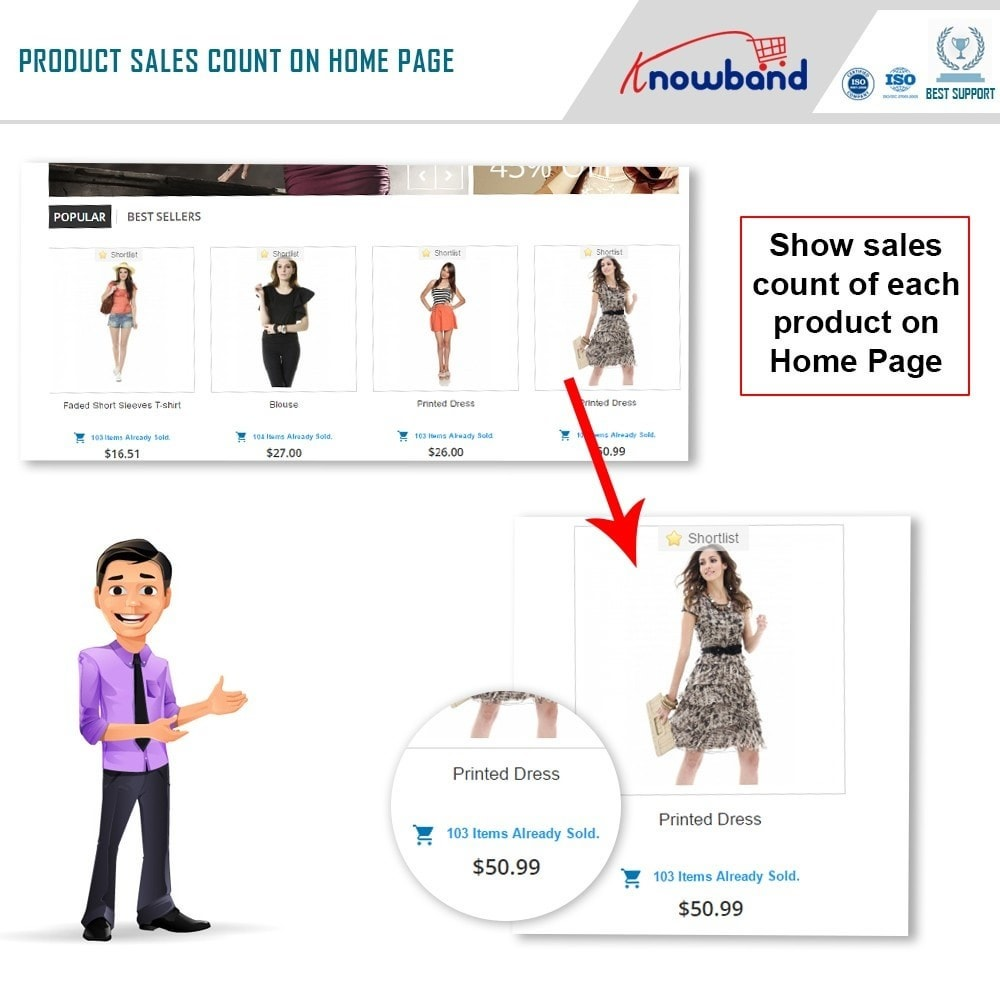 module - Zusatzinformationen & Produkt-Tabs - Knowband - Product Sales Count - 2