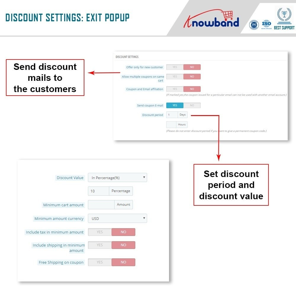 module - Перенаправление и Брошенные корзины - Knowband - Exit Popup (Email Subscription) pop up - 5