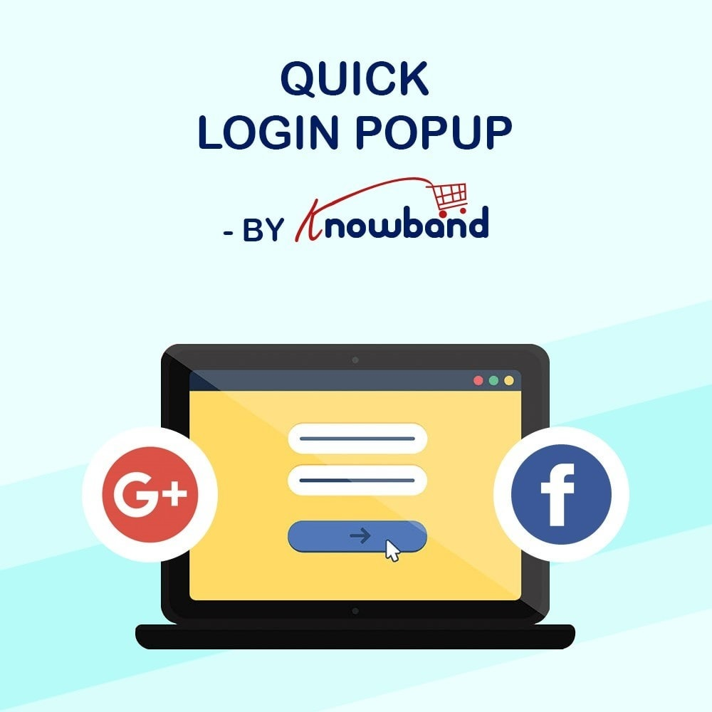 module - Módulos de Botões de Login & Connect - Knowband - Quick Login Popup (with Social Login) - 1