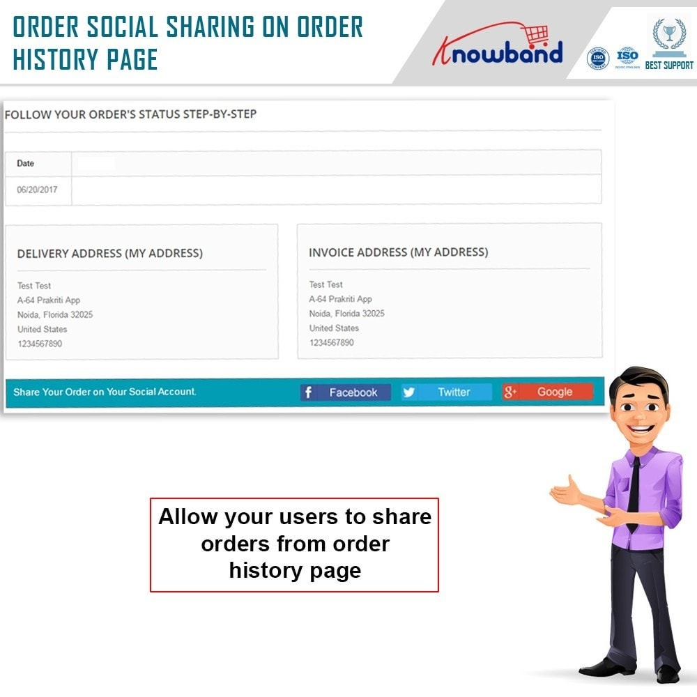 module - Share Buttons & Comments - Knowband - Order Social Sharing - 3