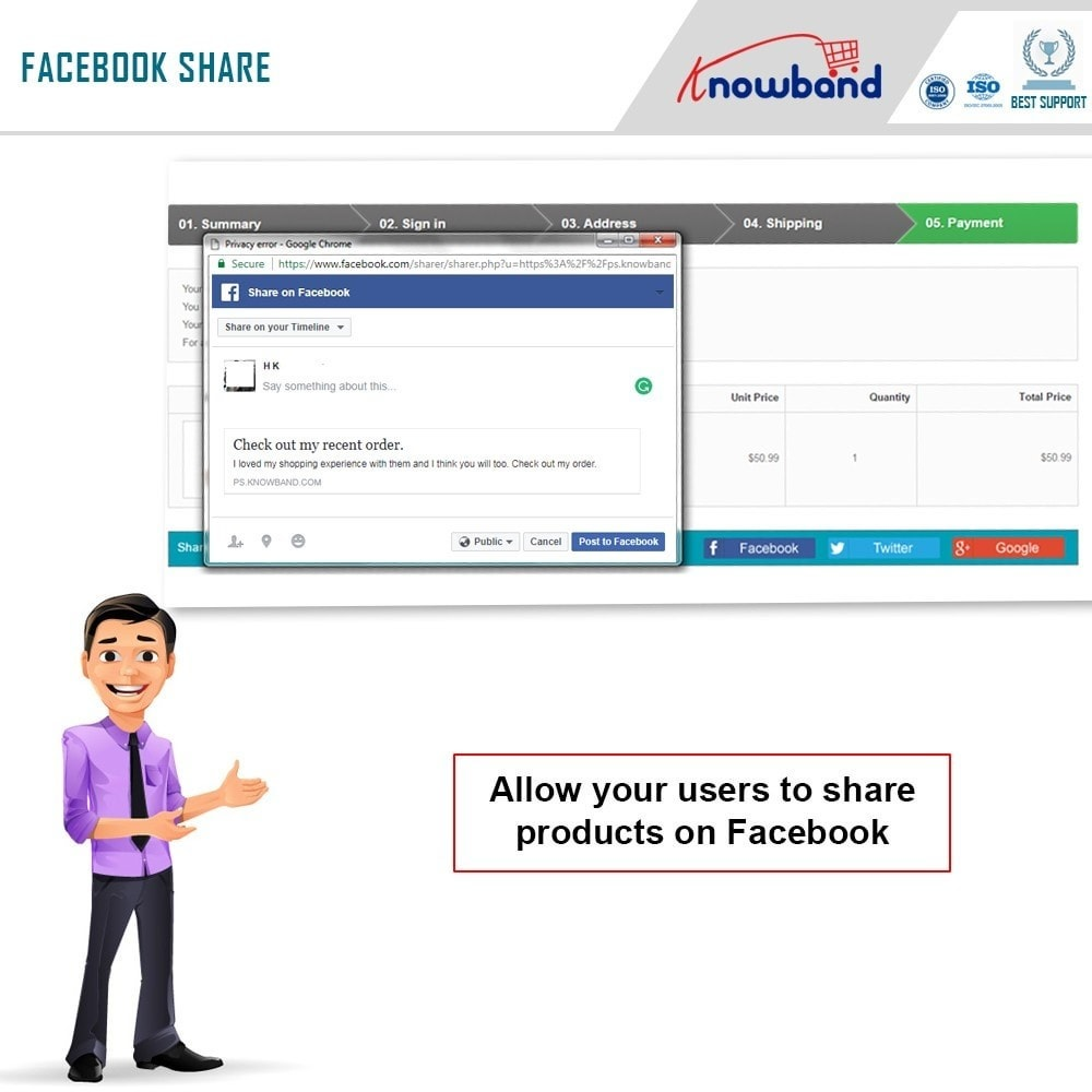 module - Share Buttons & Comments - Knowband - Order Social Sharing - 4