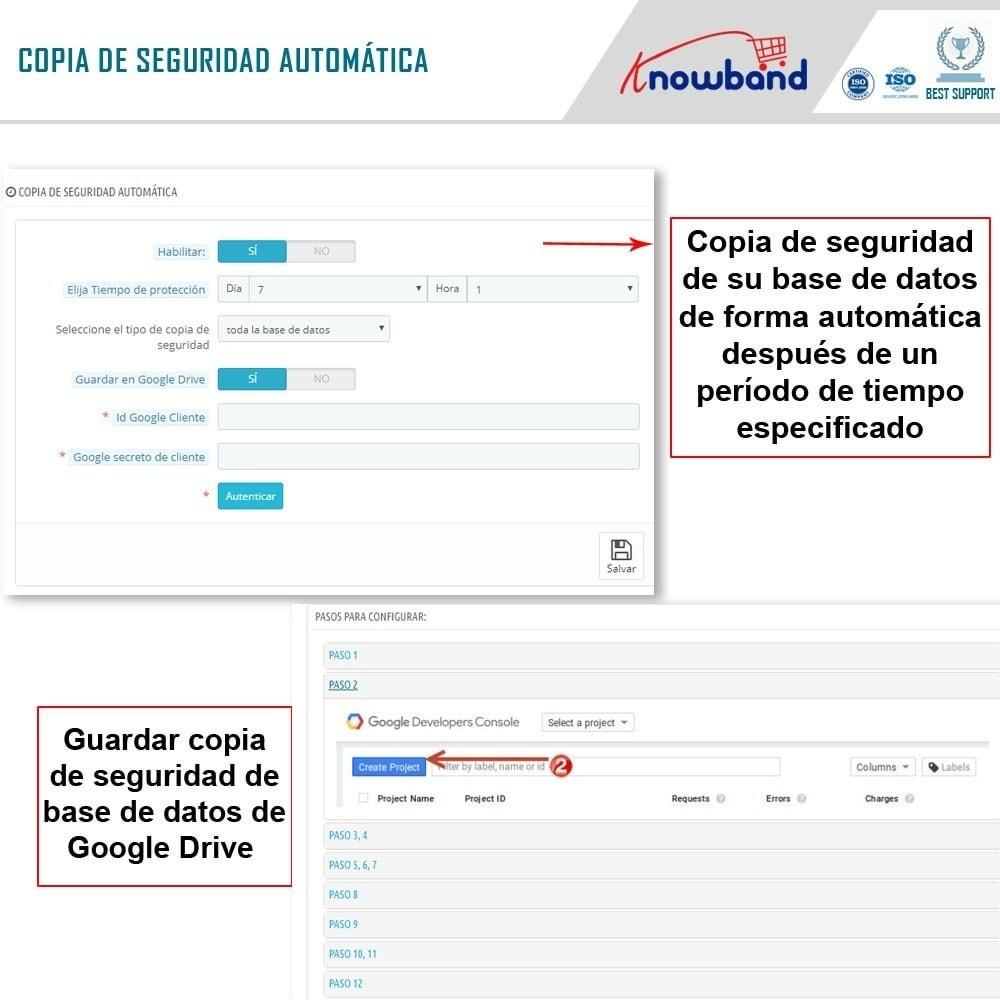 module - Migración y Copias de seguridad - Knowband - Administrador de copia de seguridad EasyDB - 3