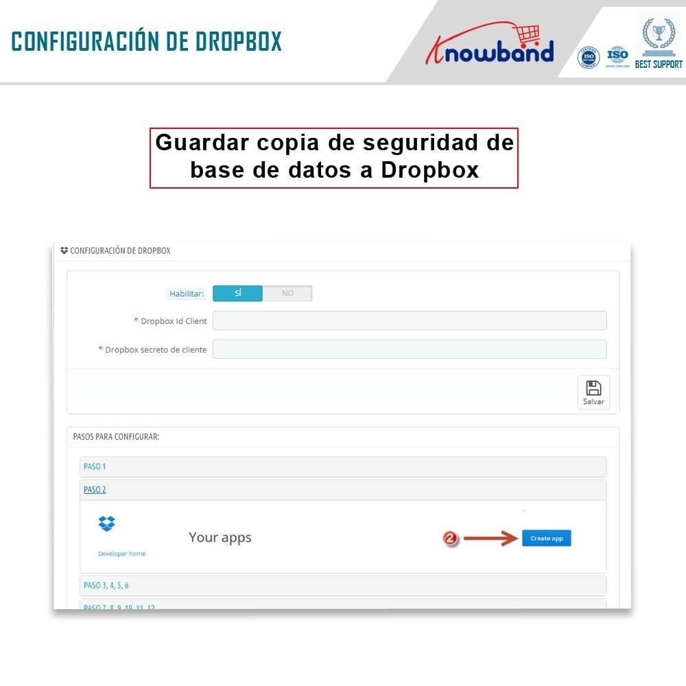 module - Migración y Copias de seguridad - Knowband - Administrador de copia de seguridad EasyDB - 4
