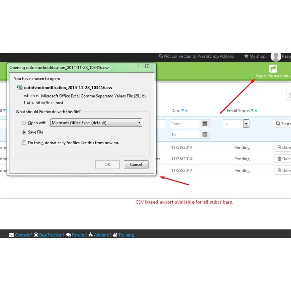 module - E-mails y Notificaciones - Notificación Fuera de Stock - 9