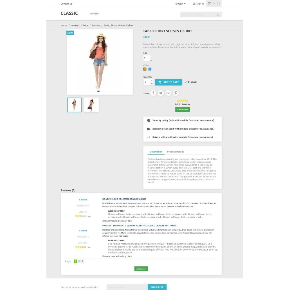 module - Comentarios de clientes - Product reviews simple + - 1