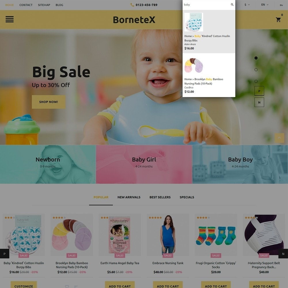 theme - Enfants & Jouets - BorneteX - articles de maternité thème PrestaShop - 6