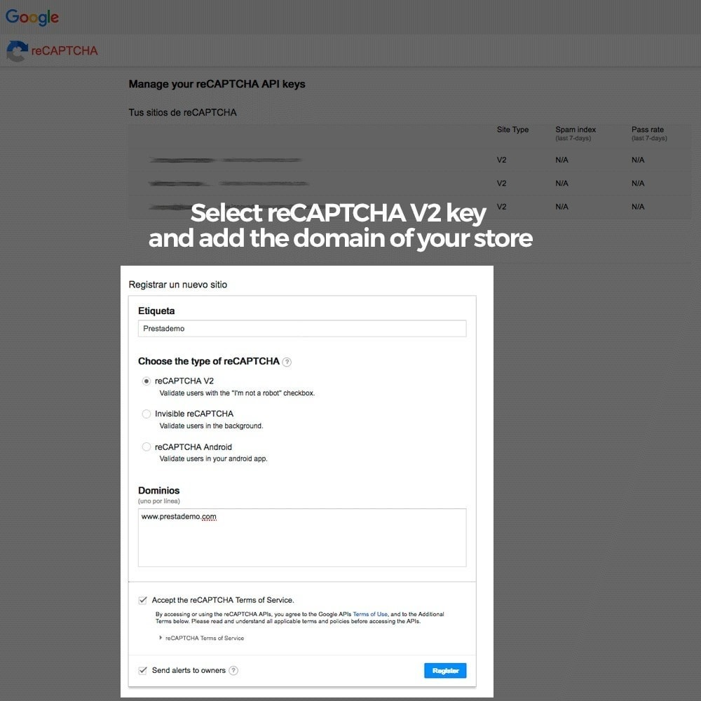 module - Security & Access - Add Google reCAPTCHA to store forms - 5