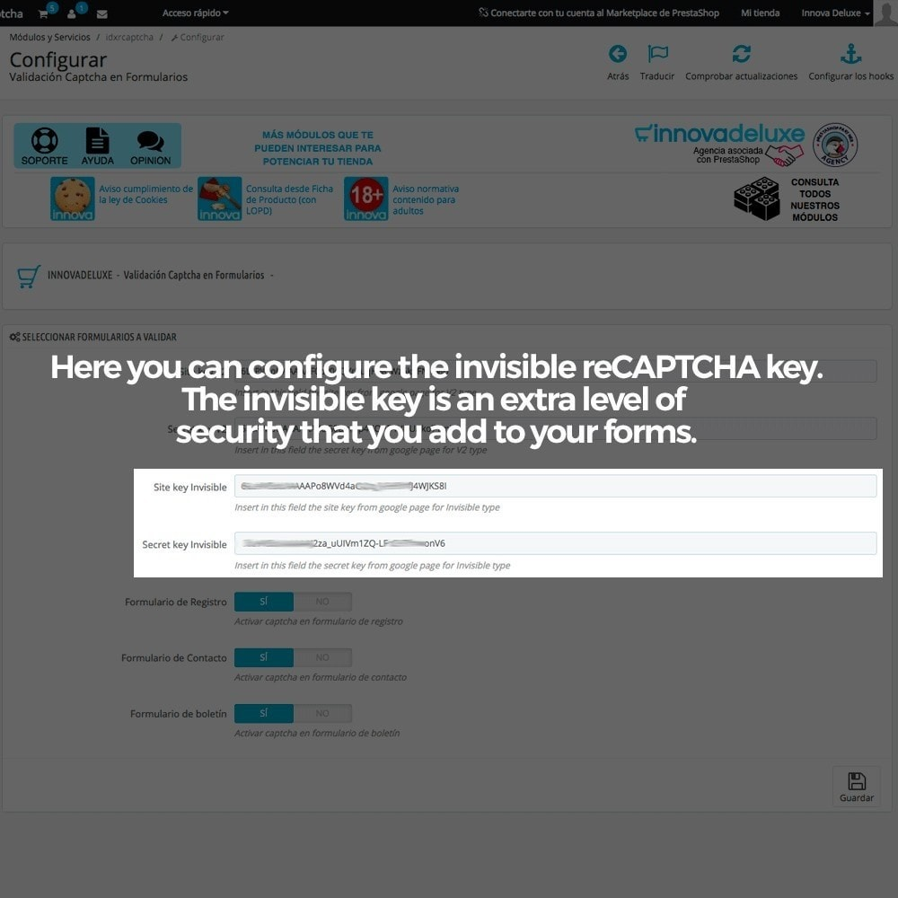 module - Security & Access - Add Google reCAPTCHA to store forms - 7