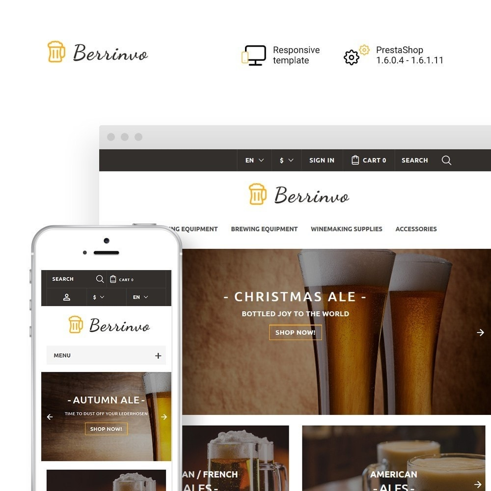 theme - Food & Restaurant - Berrinvo - Brewery Responsive - 1