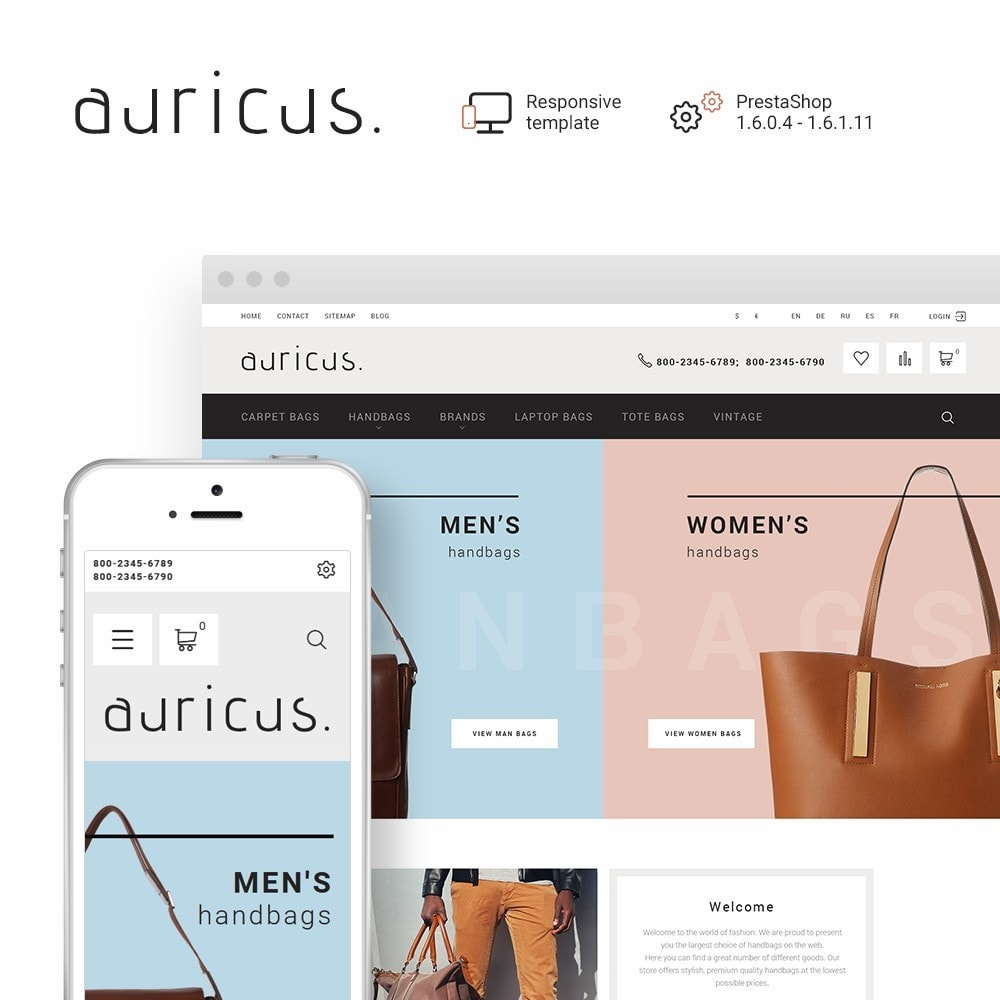 theme - Fashion & Shoes - Auricus - Handbag Responsive - 1