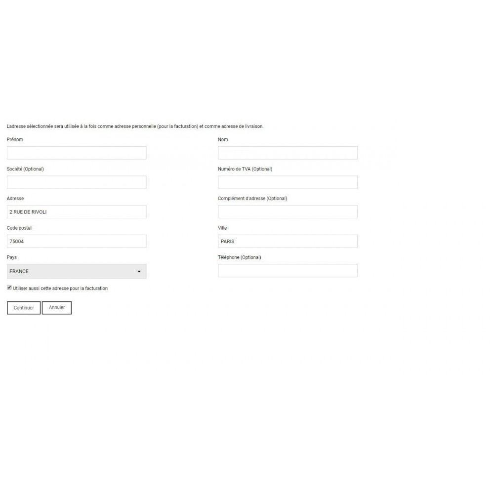 module - Inscription & Processus de commande - auto-complétion des adresses - 1
