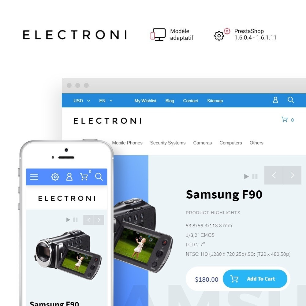 theme - Electronique & High Tech - Electroni thème PrestaShop adaptatif - 1