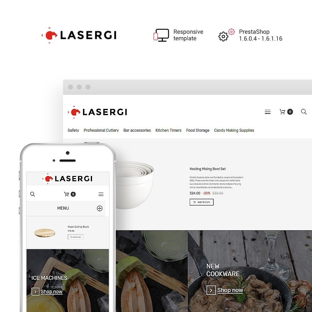 theme - Food & Restaurant - Glasergi - Cookware & Appliances PrestaShop Theme - 1