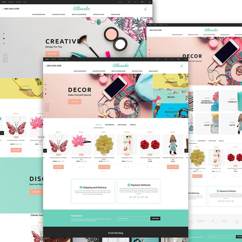 theme - Cadeaus, Bloemen & Gelegenheden - Alleando - Decor Accessories PrestaShop Theme - 2
