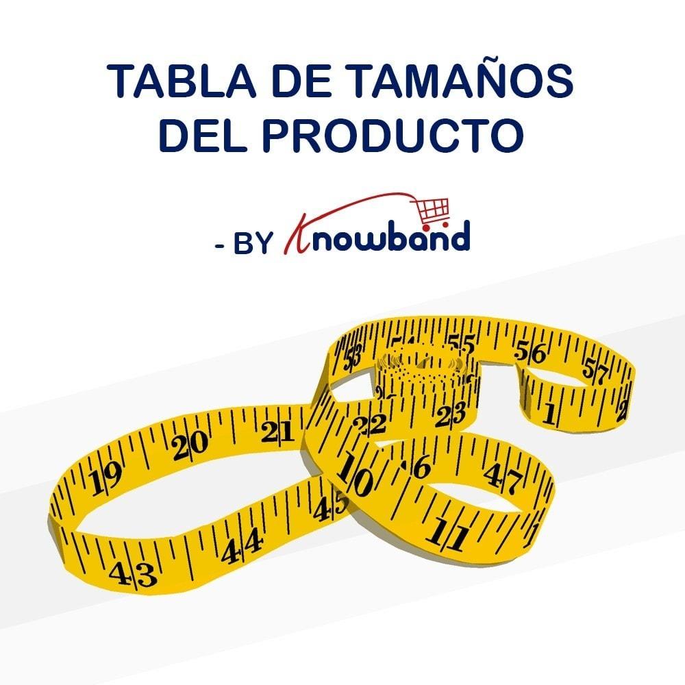 module - Informaciones adicionales y Pestañas - Knowband - Tabla de tallas del producto - 1