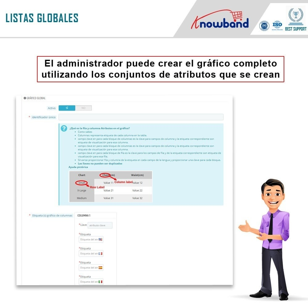 module - Informaciones adicionales y Pestañas - Knowband - Tabla de tallas del producto - 4