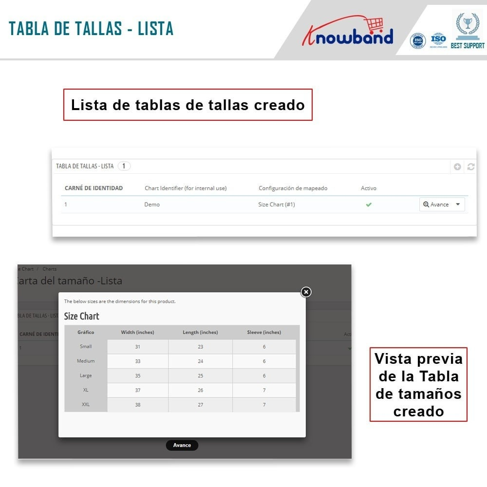 module - Informaciones adicionales y Pestañas - Knowband - Tabla de tallas del producto - 5