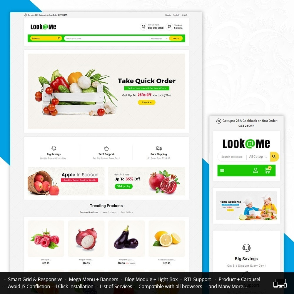 theme - Alimentation & Restauration - Look me Grocery Food - 1
