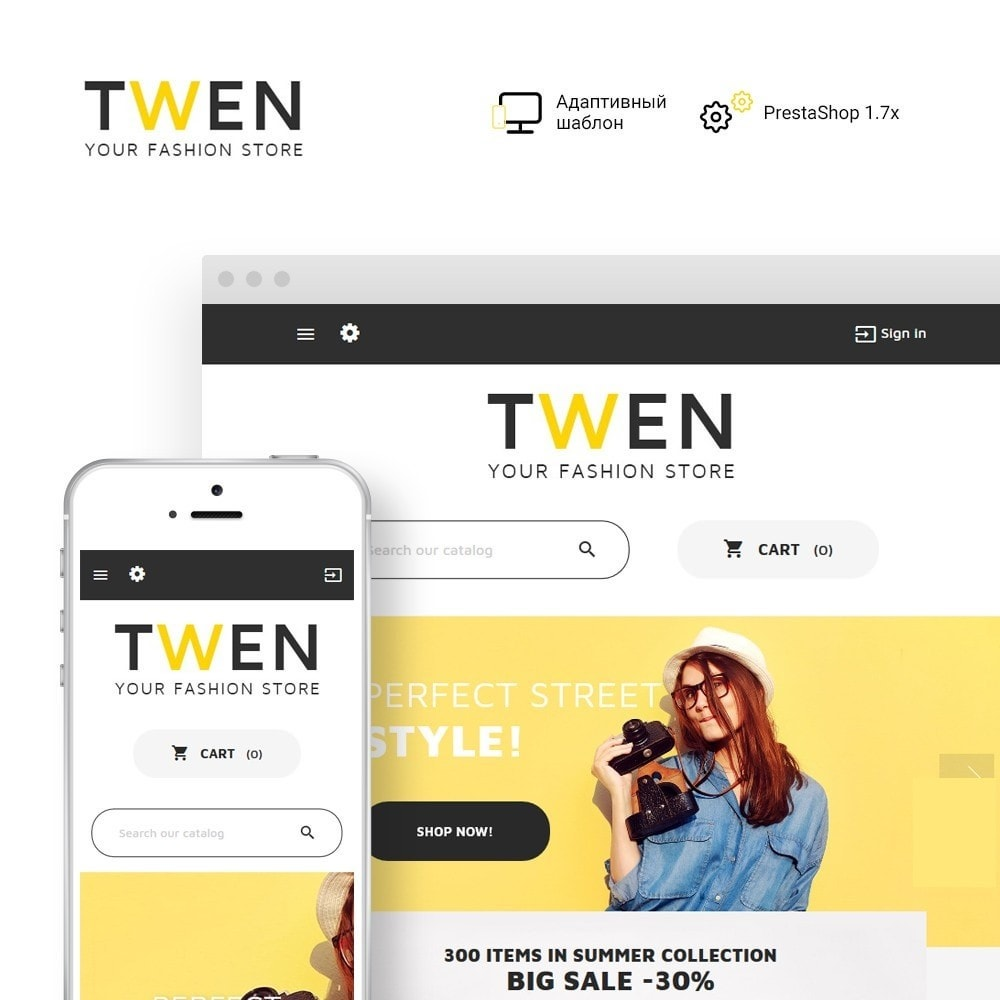 theme - Мода и обувь - Twen - Адаптивный PrestaShop шаблон модной одежды - 1