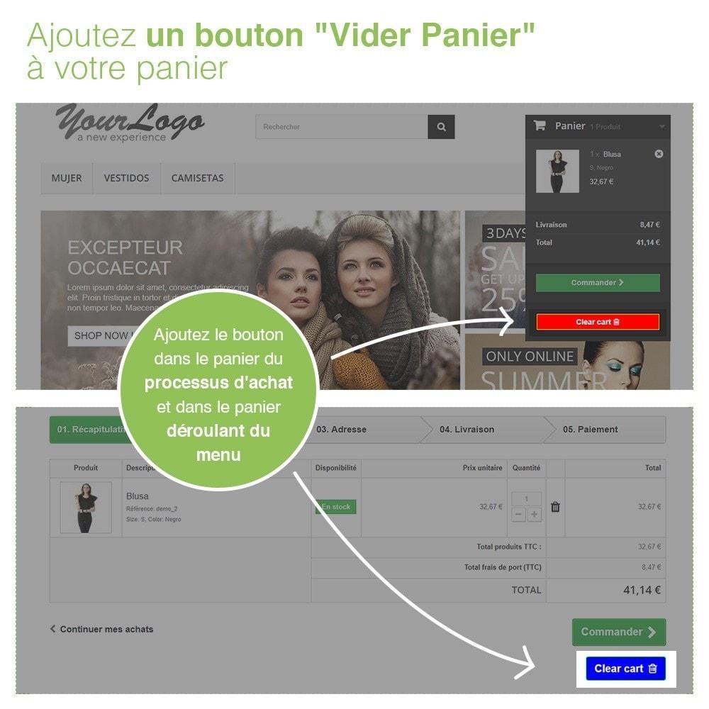 module - Inscription & Processus de commande - Bouton Vider Panier – Supprimer produits du panier - 2