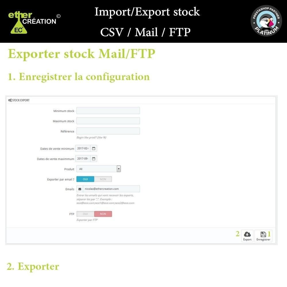 module - Import & Export de données - Import/Export stock en masse CSV / Mail / FTP - 2